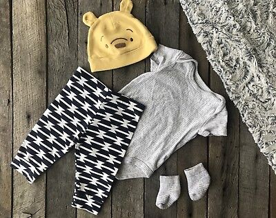 3 Month Baby Girl Boy Gift Outfits Clothes - Bodysuit Geometric Pants Pooh Hat