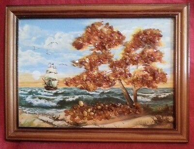 Russian Art Natural Baltic Honey & Cherry Amber Landscape Painting/picture