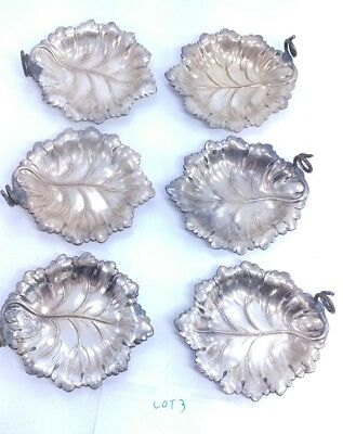 Vintage Ellis Barker Silver Plated Leaf Salt Cellar Nut Candy Dish lot of 6 # 3