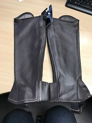 Riders Trend Adult Chocolate Brown Leather Half Chaps Gaiters SIZE LARGE - NEW