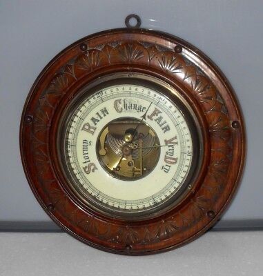 VICTORIAN c 1900 CARVED OAK OPEN CERAMIC FACE BEVELLED GLASS BAROMETER ANTIQUE