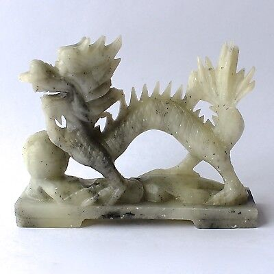 Vintage Chinese 3-Toed Dragon with Pearl Hand Carved Green Soapstone L11.8cm