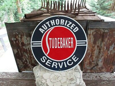 """Vintage Heavy Porcelain Studebaker Authorized Service Sign 11""""-Excell. Condition"""
