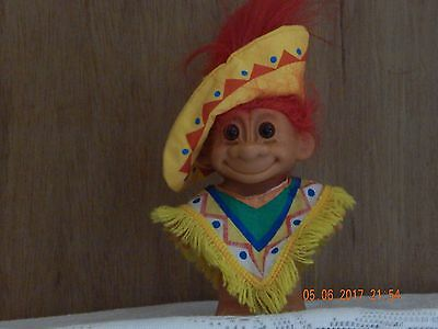 russ troll doll mexican 5 doll red hair with poncho and sombrero