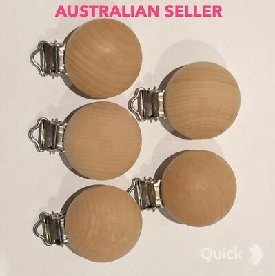 5 X Natural Wood DUMMY CLIP. Australian Seller. DIY craft Pacifier Chain Baby