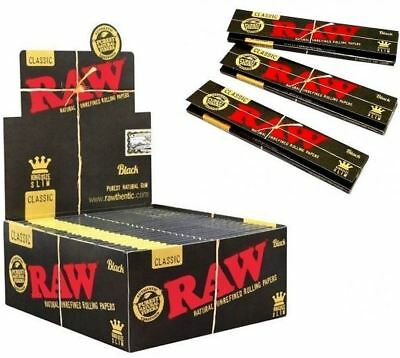 Raw Classic Black King Size Slim Paper Ultra Thin Unrefined Smoking Rolling Skin