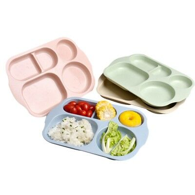 Baby Divided Plate Kids 5 Compartment Food Tray Straw Children Dinner Tableware