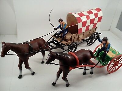 Vintage Lot of 2 - PURINA Puppy Chow Chuck Wagon & Horse & cart w/Driver