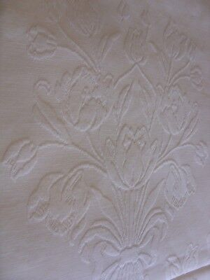 """Huge Antique Cotton Marcella Embossed White Bedspread Cover Tulips. 96""""x 108"""""""