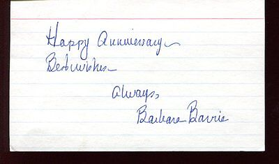 BARBARA BARRIE autograph HAND SIGNED index card 6195