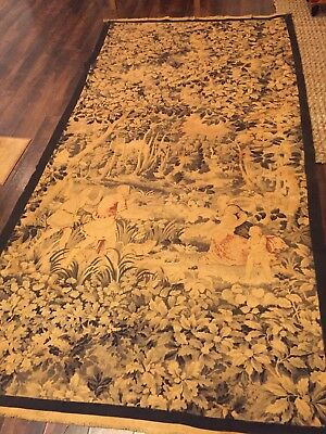 """Rare Large Antique 1880's French Cotton Aubusson/ Rug/ Textile""""Frogman"""" Pauley"""