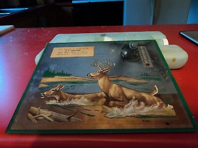 EARLY 19?? John Deere Advertising Mirror Thermometer FROM Le SUEUR  MINN