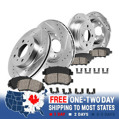 For 2000-2004 Ford F150 2WD 5Lug Front Drill Slot Brake Rotors /& Ceramic Pads