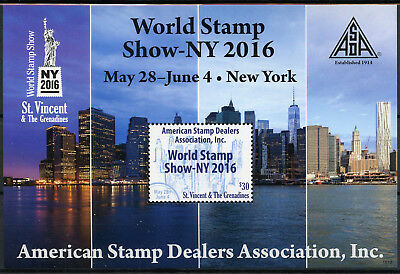 St Vincent & Grenadines 2016 MNH World Stamp Show NY2016 ASDA 1v S/S Skyscrapers