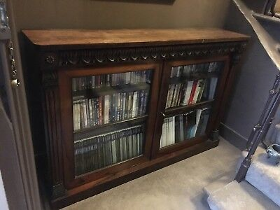 Antique William IV Rosewood Bookcase with 2 Glazed Doors and Deep-Carved Frieze
