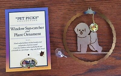 "New Bichon Frise ""Pet Picks"" Dog Sun Catcher Australian Crystal  Stainless Steel"