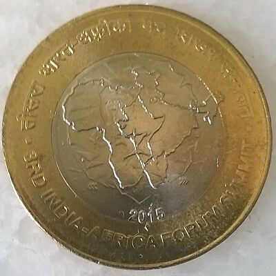 India 10 Rupees 2015   India - Africa Summit  -  bimetallic