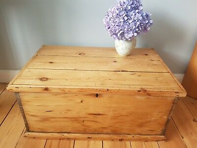 Large antique vintage wooden box, chest, trunk or coffee table
