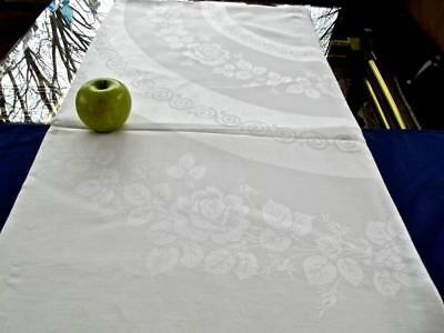 "Antique White Damask Irish Linen 74""Square Tablecloth Topper Circular Roses"