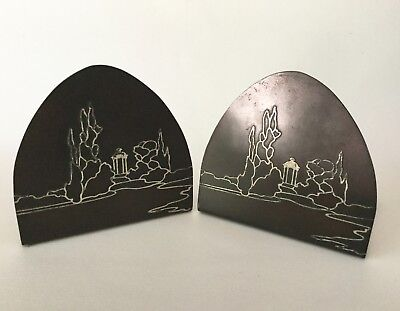 HEINTZ Art Metals Sterling on Bronze Scenic BOOKENDS c1912 Mission Arts & Crafts