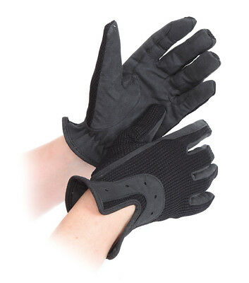 Shires All Day Riding Gloves - Adults XS, S, M, L, XL - Black / Brown