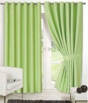 """Supersoft Thermal Faux Silk Blackout Eyelet Curtains Tiebacks Green 46"""" x 72"""""""