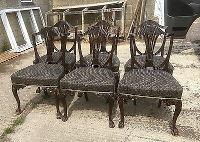 Set Of 6 Georgian Style Mahogany Dining Chairs