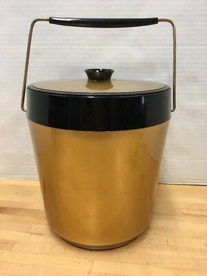 Vtg Thermo-Serv West Bend Gold Black Ice Bucket Retro MCM Made in USA
