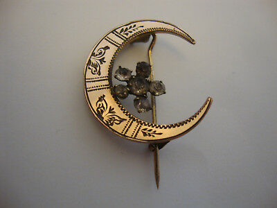Nice old vintage Victorian antique crescent moon gold plated brooch 1900's