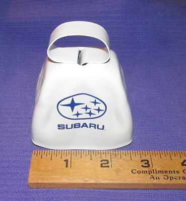 """Vintage Subaru Metal Cowbell Cow Bell 3"""" White Official Genuine advertisment"""