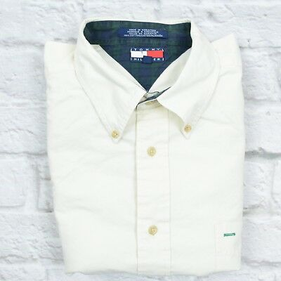 Tommy Hilfiger Shirt Mens Sz XL Long Sleeve Button Down Vintage Ivory Logo