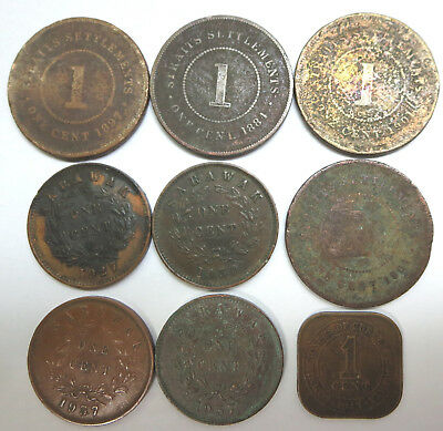 9 Straits Settlements Sarawak 1 Cent copper coins 1884 1897 Queen Victoria KEVII