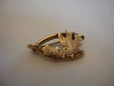 Nice old vintage Victorian antique gold plated lucky wishbone bird brooch 1900's
