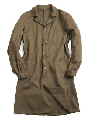 Vintage Working Prison Gown Coat Czech Army Surplus Brown/Green Warsaw Pact Long
