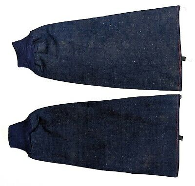 Vintage 1930s slubby denim deadstock workwear sleeve protectors knit cuffs A