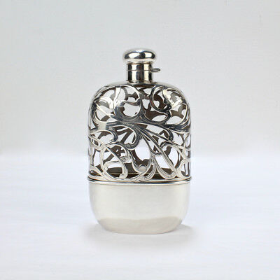 Antique American Sterling Silver Overlay & Glass Hip or Pocket Spirits Flask SL