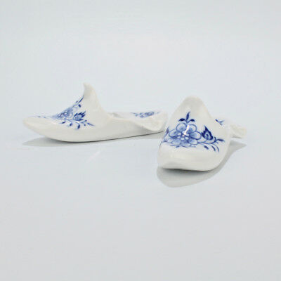 Two Vintage Meissen Porcelain Blue Onion Shoe or Slipper Form Paperweights - PC