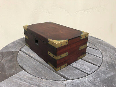 Vintage Wood Box w/ Brass Corners and Inserts but with lock removed