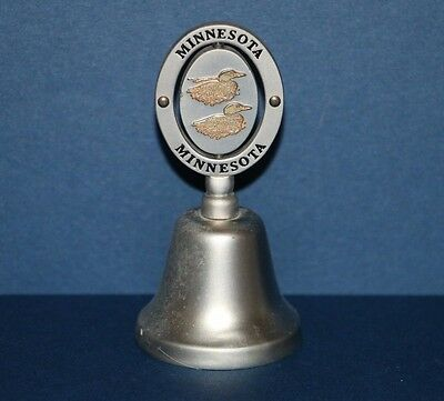 Vintage Minnesota Loon Silver Metal Collector Souvenir Hand Bell 3.5""