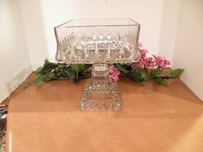 Vintage Clear Pressed Glass Large Square Compote Dish