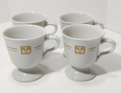 (4) Vtg Disney World Mayer China Beaver Falls Footed Pedestal Coffee Tea Cup Mug