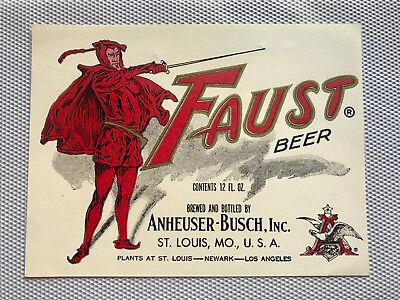Unused 1950s ST. LOUIS, MO, U.S.A. Anheuser Busch FAUST BEER 3 City 12oz Label