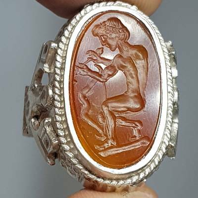 Wonderful Silver Lovely Ring with Roman Old  Intaglio Seal Stone  # 2C