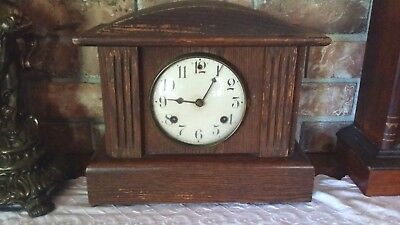"Antique Waterbury ""EDMOND"" Mantle Clock Runs & Strikes Properly Gong & Bell"