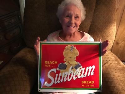 Reach for Sunbeam Bread Porcelain Enamel Sign Vintage Style Store Advertising