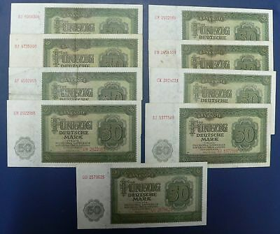 DDR: 9 x 50 Mark 1948 - Notenbank (Ro. DDR-7a)