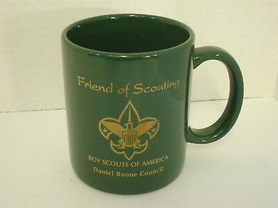 Boy Scout Coffee Mug Friend of Scouting Daniel Boone Council Green Gold