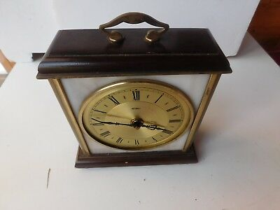 Vintage 1960s Metamec Mantle Clock - Wind up - Marble, Brass & Wood for parts