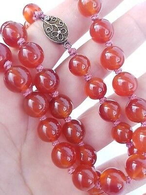 Antique Chinese Carnelian Gemstone Beaded Necklace Sterling Silver filigre Clasp