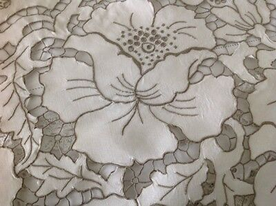 Antique Vintage Madeira Hand embroidery Irish Linen tablecloth Bed Cover Throw